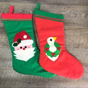 Vtg felt appliqué Xmas stockings handmade Goose